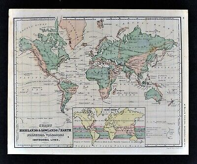 1871 McNally Physical World Map Mountains Volcanoes Wind Currents Isothermal