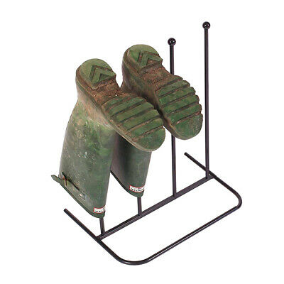 Steel Black Rack 2 Pairs Wellie Welly Wellington Boots Boot Holder Stand Storage