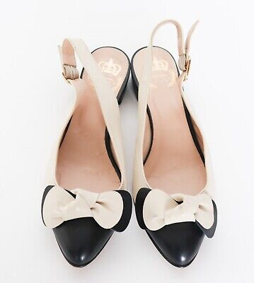 Vintage Slingback Bow Pumps - Homage to Mary Quant - Cream / Blue - UK 5