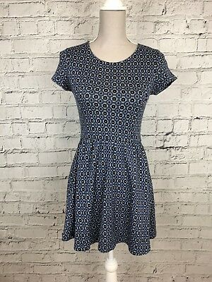 Womens TOPSHOP Blue Black Grey Patterned Short Sleeve Casual Dress Size 8