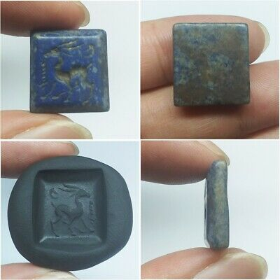 Old Ancient lapis lazuli Roman Animal carving Intaglio Seal Stamp Stunning