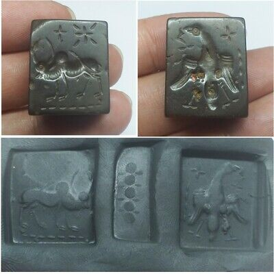 Near Eastern Ancient Stone intaglio seal 2 Side Bird & Cow Stamp Bead unique.