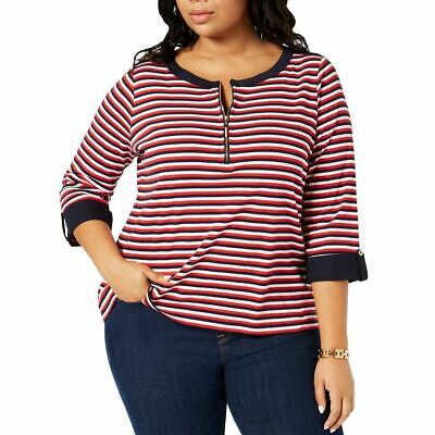 TOMMY HILFIGER NEW Women's Plus Size Cotton Striped Utility Shirt Top TEDO