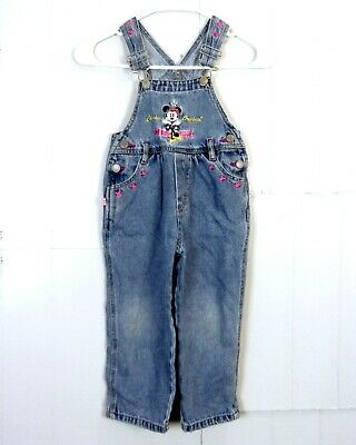 vtg 80s 90s Disney Mickey & Co. Denim Embroidered Minnie Mouse Overalls kids 4T