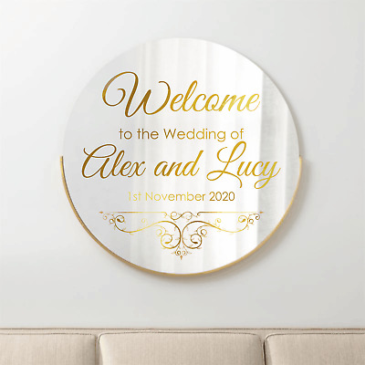 Personalised Wedding Mirror Custom Welcome Venue Decor Decal Sticker