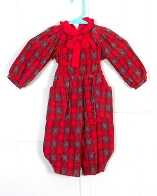 vtg Mousefeathers Baby Kids Toddler Red Plaid Corduroy Coveralls Romper SZ 2
