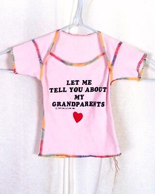 vtg 80s Baby Newborn Pink T-Shirt Let Me Tell You About My Grandparents 1981
