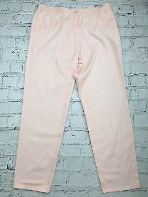 Pale Pink Ankle Length Straight Leg Smart Capri Trousers - Womens - Size L