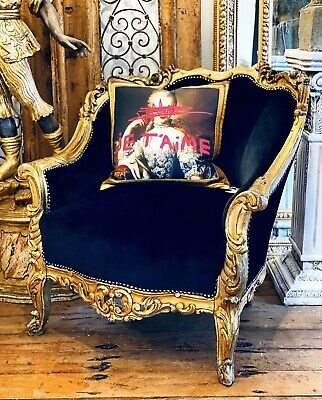Antique French Bergere Chair Armchair Newly Upholstered Black Velvet