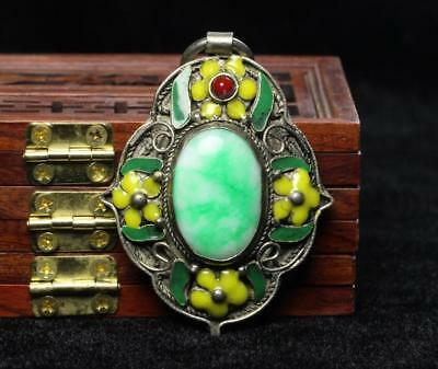 China Collectible Handwork Green Jade Cloisonne Flower Classical Pendant