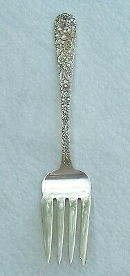 Kirk Repousse' Pattern Sterling Silver Large Cold Meat Serving Fork
