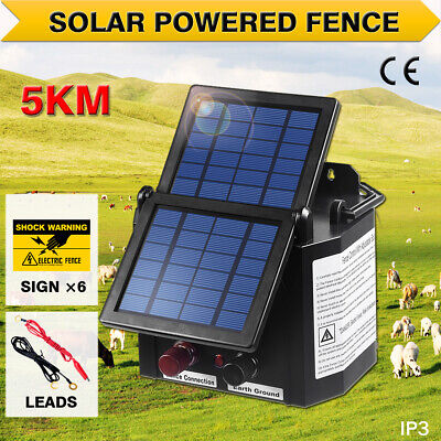 NEW 5km Solar Power Electric Fence Energiser Charger 0.15J Farm Pet Animal