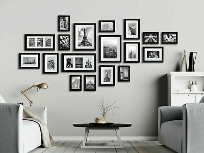 Large Set 23Pcs Photos Multi Picture Frame Collage Aperture Decor Memories Black