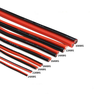 2-Core Twin Cable Silicone Flexible 10/12/14/16/18/20/24/26AWG Wire High Temp.