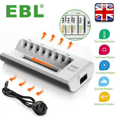 EBL 8 Slot Intelligent Fast Battery Charger For AA AAA Rechargeable Batteries UK