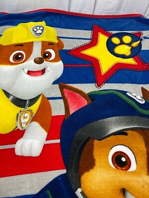 "Paw Patrol  Fleece Throw Blanket RUBBLE CHASE SOFT 46"" X 66"" Nickelodeon"