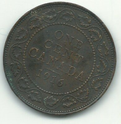 High Grade Vf/Xf 1916 Canada Large Cent Coin-Dec312