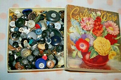 Cute Vintage Old Box Of Buttons Mixed Designs Old Sewing Needlework Sew Shabby