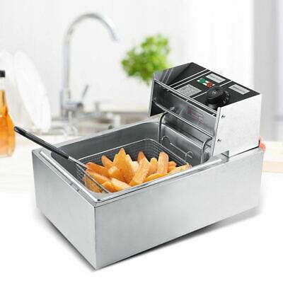 6L Commercial Stainless Steel Deep Fryer Basket Electric Single Tank Fat Chip UK