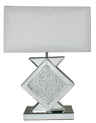 30/% Off Diamond Crystal Silver Sparkle Table Buffet Lamp White Shade 69cm