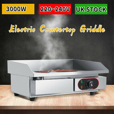 Commercial Electric Griddle Stainless Steel Countertop Kitchen Grill Hot Plate