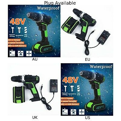 Cordless drill Waterproof Workshop 48V Brushless Hammer Impact Rechargeable