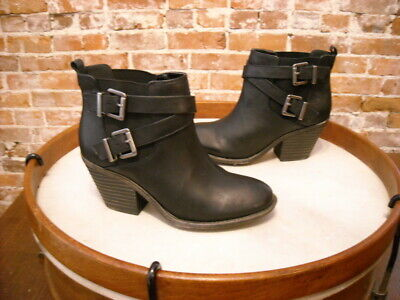 Sole Society Maris Black Leather Double Buckle Ankle Boot 7.5 Sale