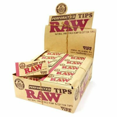 Genuine Raw Perforated Wide Tip Natural Cotton Smoking Rolling Roach Card Filter