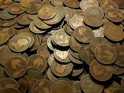 Lot of 50x - British - Large Copper coin - One Penny - Victoria - 1860-1901
