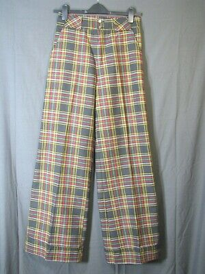 Vintage TARTAN PLAID BELL BOTTOMS PANTS Polyester WIDE FLARE Meas.28-33 (13)