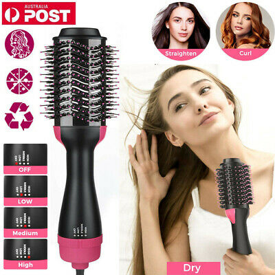 3 IN 1 Pro One Step Hair Dryer Comb And Volumizer Brush Straightener Curler AU