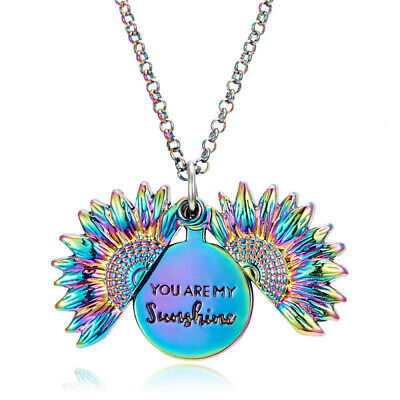 You are my sunshine Sunflower Open Locket Pendant Chain Necklace Christmas Gifts