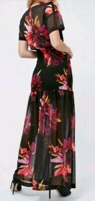 Ex Coast Carmen Print Floral Capped Sleeve Top Black Red Size 6-18 201