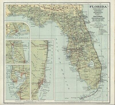 VINTAGE MAP OF FLORIDA 1930 - National Geographic Magazine/Society MULTI-COLOR