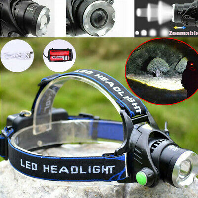 900000Lumen T6 LED Zoomable Headlamp USB Rechargeable Waterproof Headlight Torch