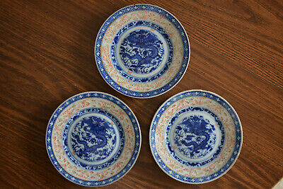Set of 3 Antique Chinese Blue & White Plates, Dragons!