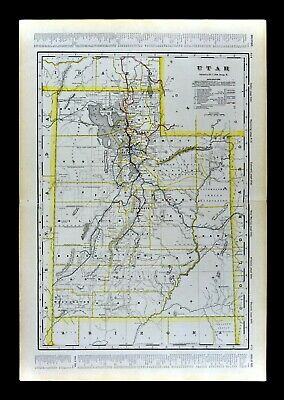 1904 Geo. Cram Railroad Map Utah Salt Lake City Provo Ogden Logan Moab Nephi RR