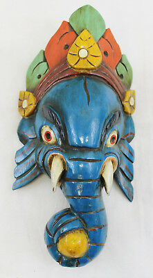 T429 VERY NICE WOODEN MASK OF HINDU LORD GANESH HAND MADE IN NEPAL