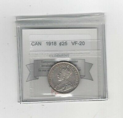1918 , Coin Mart Graded Canadian, 25 Cent, **VF-20**