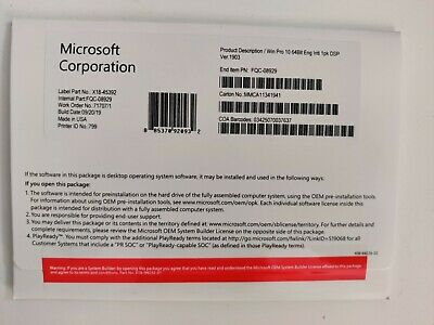 Windows 10 Pro PROFESSIONAL 64 Bit DVD Complete Full Version With Activation key