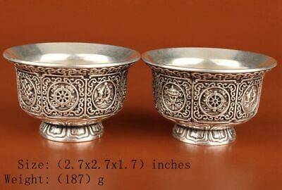 2 Retro Chinese Silver-Plated Wine Glass Solid Pattern Home Decorative Arts Gift