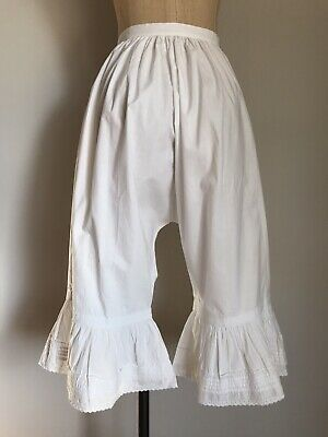 White Pantaloons Antique Cotton Bloomers Edwardian Embroidered Lace Vintage XS