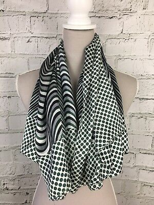 Black Grey Green Patterned Silky Feel Square Casual Scarf - Womens - One Size