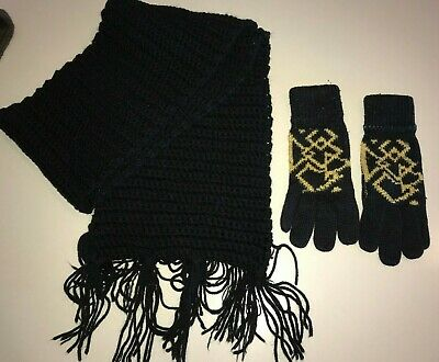 womens LONG BLACK FRINGE KNIT SCARF gloves YELLOW PRINT DESIGN ONE SIZE fits mos