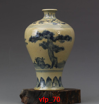 """6.64""""Old China antique Blue and white pine and bamboo chart Pulm vase"""