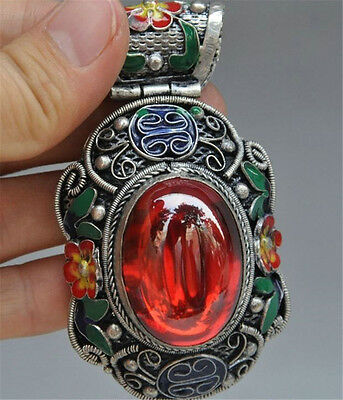 Collect chinese tibet silver Cloisonne Enamel Inlay red Gem flower pendant