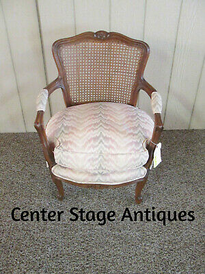 55870 French Caned Back Boudoir Chair Goose Down Cushion