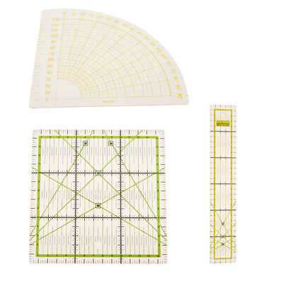 3x Clear Rectangle/Square/Sector Quilting Patchwork Ruler Marking Ruler DIY