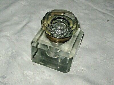 An Antique Cut Crystal Block Inkwell & Faceted Hinged Cap with Brass Collar