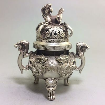 Exquisite CHINESE Tibet SILVER COPPER HANDWORK DRAGON & LION INCENSE BURNER